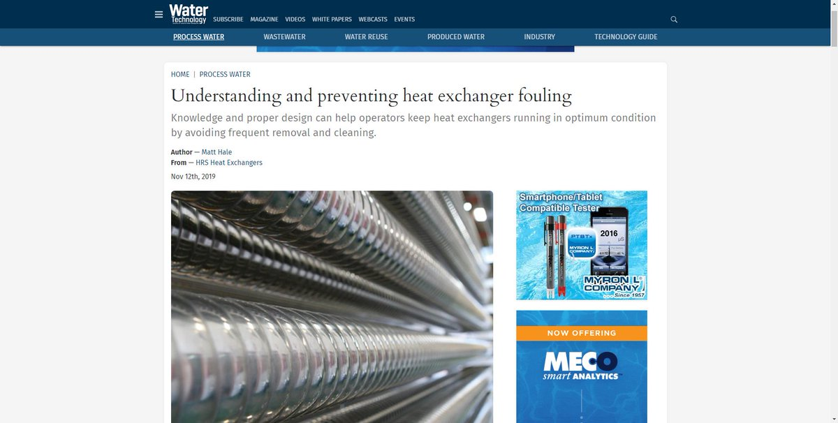 test Twitter Media - HRS is featured @WaterTechOnline on Understanding and preventing heat exchanger fouling. Knowledge and proper design can help operators keep heat exchangers running in optimum condition by avoiding frequent removal and cleaning. Read more: https://t.co/bZKMXwk2eX #heatexchangers https://t.co/W033V6QoQi