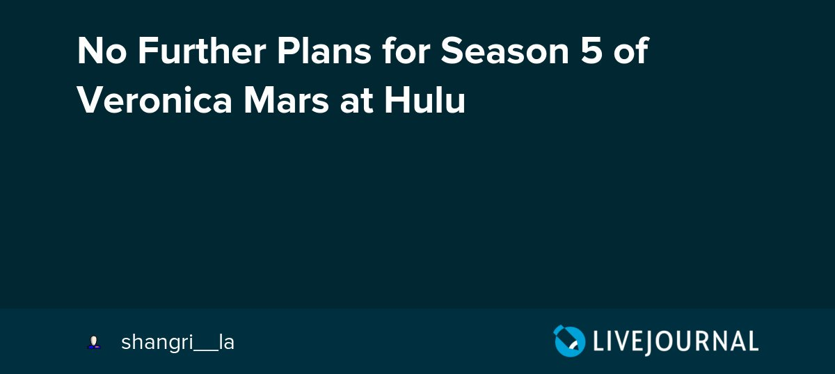 test Twitter Media - No Further Plans for Season 5 of Veronica Mars at Hulu https://t.co/D6jAq3p77m https://t.co/gSiHdvOzb7