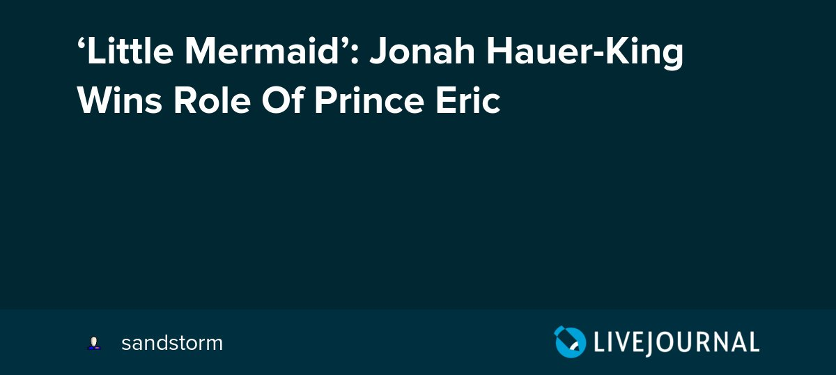 test Twitter Media - 'Little Mermaid': Jonah Hauer-King Wins Role Of Prince Eric https://t.co/nGwZtG695M https://t.co/WMfOm05JIi