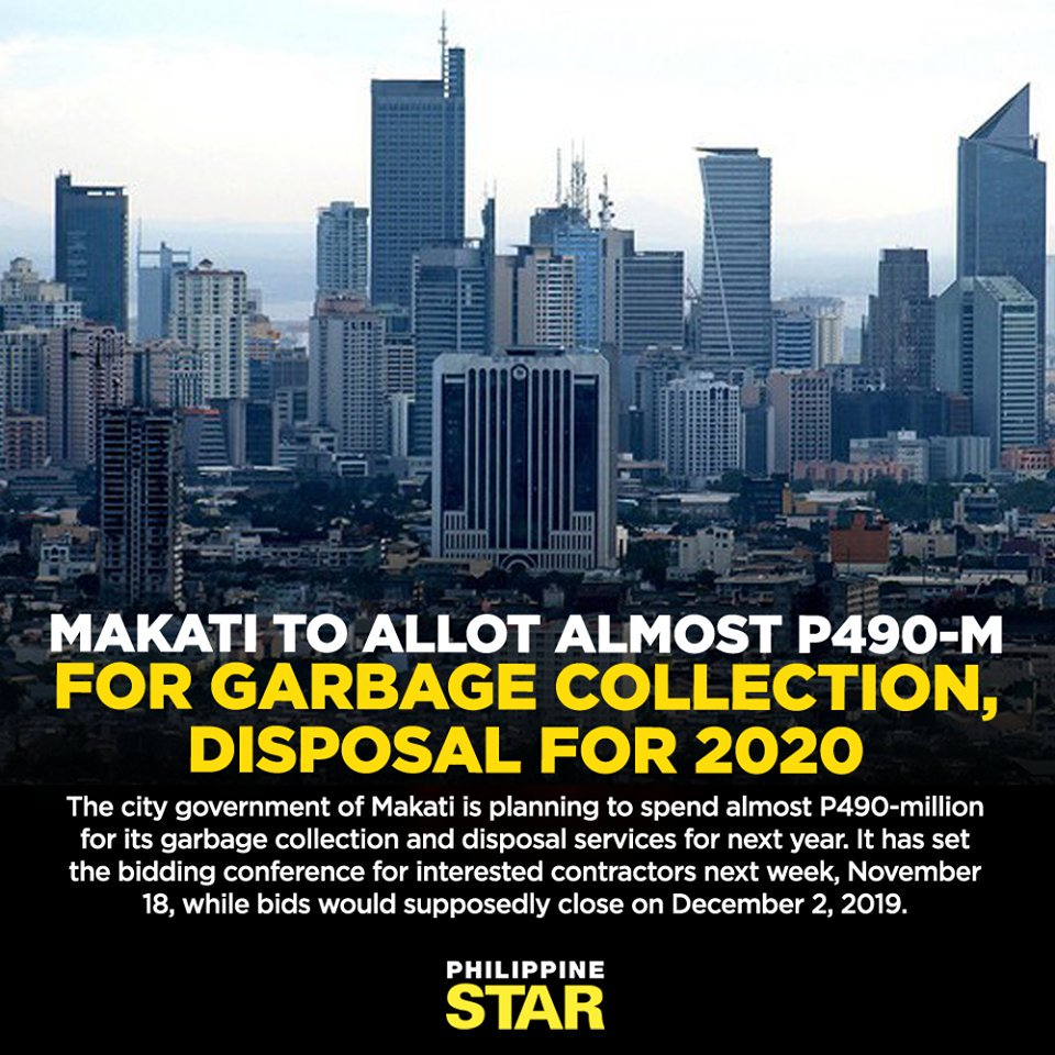 test Twitter Media - The Makati City government plans to spend almost P490-million for its garbage collection and disposal services for next year. | via Ghio Ong https://t.co/tZVIo8MqTH