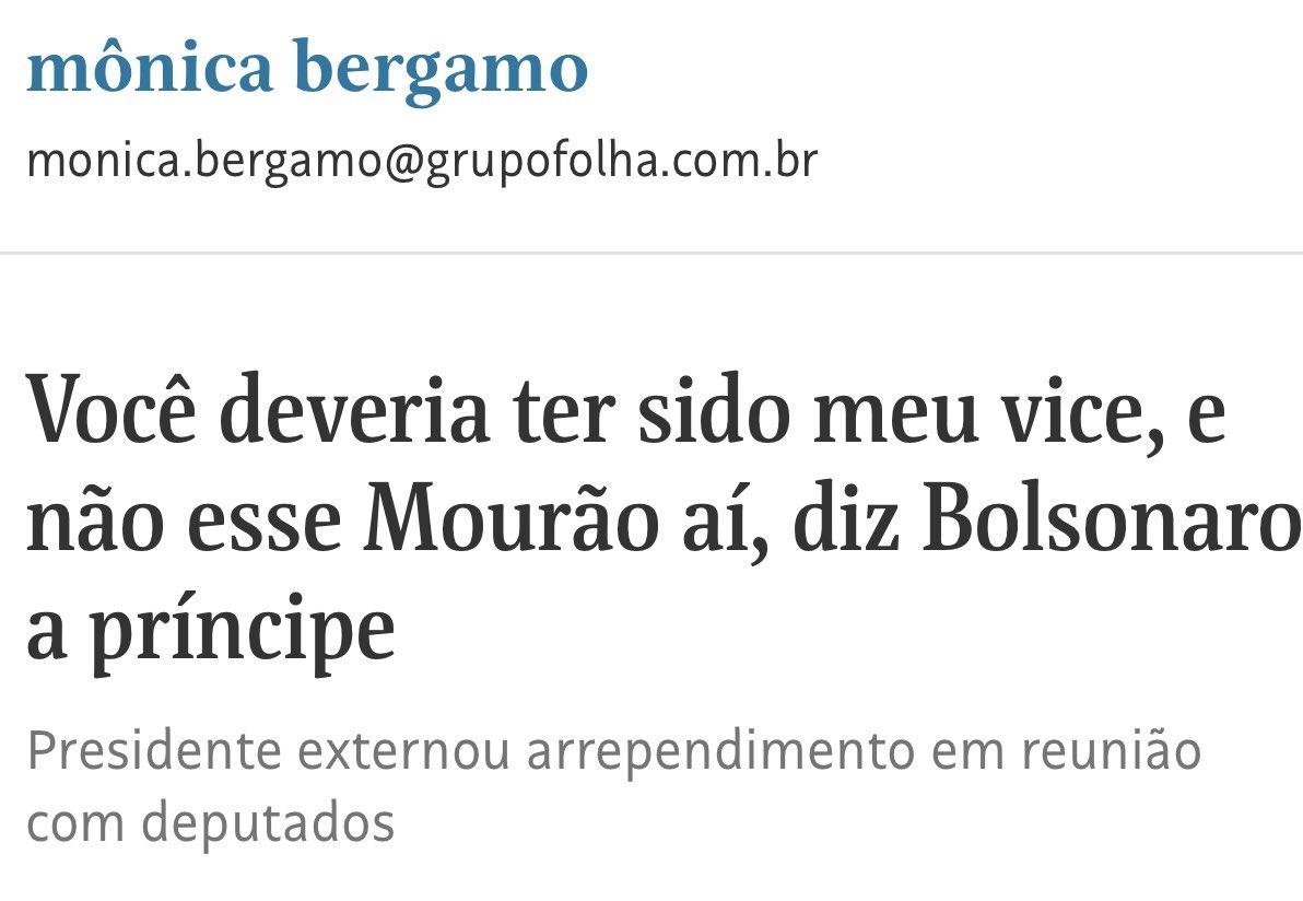 O presidente não mencionou o Mourão na conversa com os deputados.