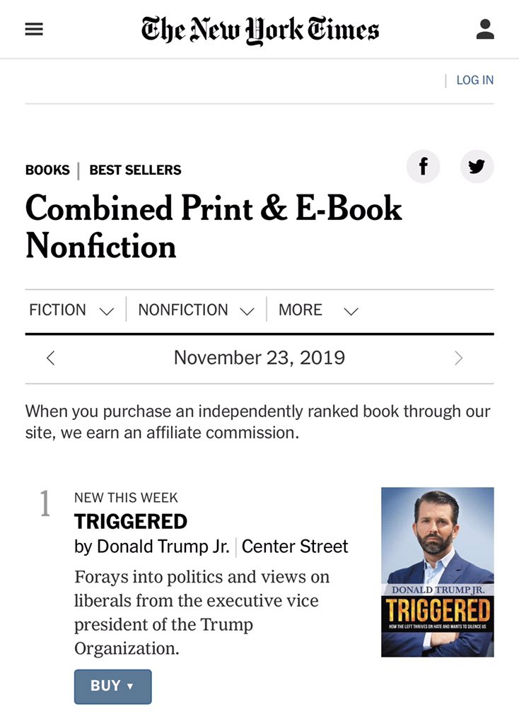 """Oh, boy.   This might cause some folks to get """"Triggered.""""  Debuting at #1 on the New York Times best sellers list. You know that was painful for them.   Way to go @DonaldJTrumpJr!"""