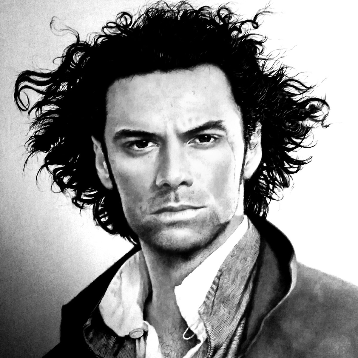 test Twitter Media - @Kate261271 This black & white version of my painting of of Aidan Turner is a little more dramatic than my original full colour oil portrait. #AidanTurner #portraits #portraitgallery #oiloncanvas https://t.co/DS6IRaEouB