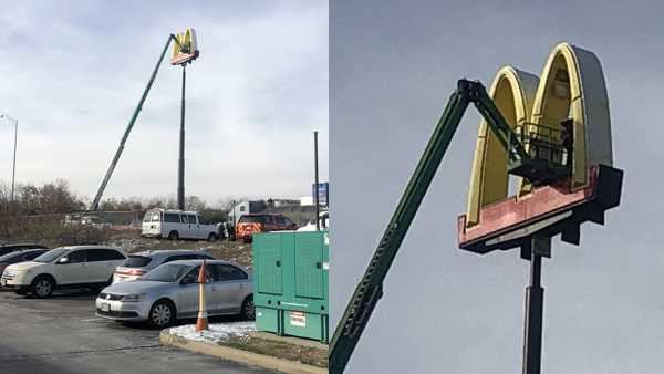 test Twitter Media - Man trapped more than 100 feet in air rescued from McDonald's sign https://t.co/FhStebva9G https://t.co/QapOCaIc63