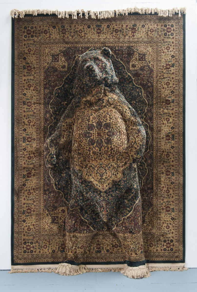 Scottish born artist Debbie Lawson, known for her sculptures which fuse the domestic landscape with the animal and plant world, resulting in life-size, Persian rug art pieces such as 'Persian Bear' #womensart https://t.co/jCJhlHkwz6
