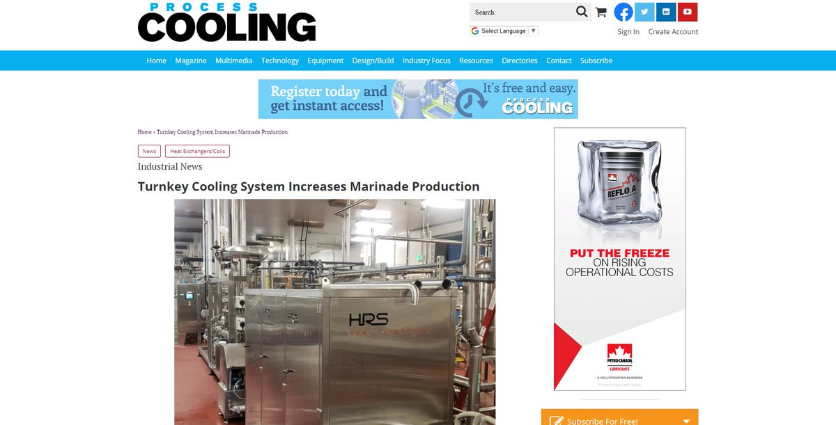 test Twitter Media - An HRS #turnkey cooling system has cut the time it takes to chill a meat marinade by one-third, enabling a soup/sauce manufacturer to significantly increase production. Read more https://t.co/AqhK2JGntz as featured @ProcessCooling magazine. #coolingsystem #foodprocessing https://t.co/LytSKNBLjX