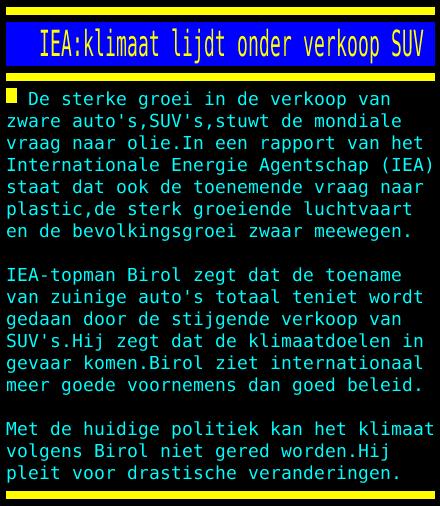 test Twitter Media - IEA:klimaat lijdt onder verkoop SUV https://t.co/QF0uVD7xbG