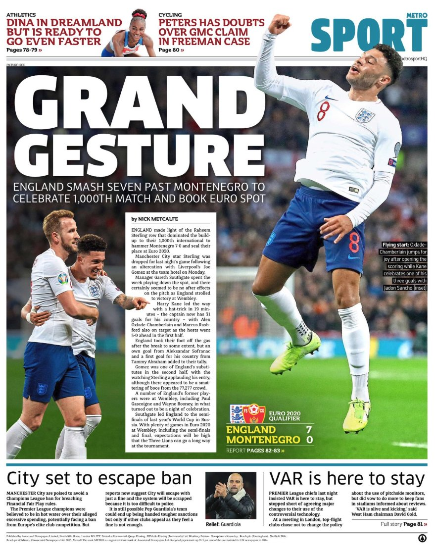 test Twitter Media - Today's back pages: grand master Harry Kane fires @England to the Euros  A round up of the sport headlines from UK newspapers on 15 November.   Read more @TheWeekUK: https://t.co/J4uqHzLIIG  #BackPages #ENGMON #England #ThreeLions #EURO2020  #EuroQualifiers #HarryKane https://t.co/bRWOP1H0IN