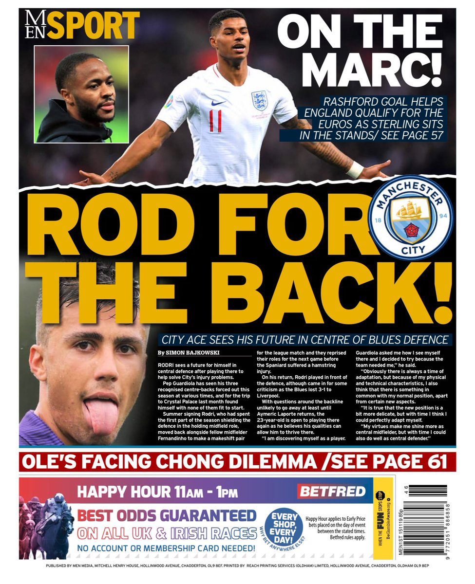 test Twitter Media - Friday 15th November 2019 Manchester Evening News back Page: ROD FOR THE BACK! #mcfc #mancity #backpages https://t.co/st3gQOG3Z9