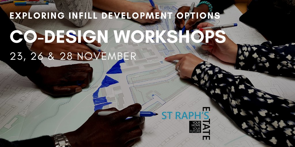 Live on St Raphael's Estate? Your design team are holding five workshops on infill development on 23, 26 and 28 November. Book your place here:    #straphaels @GeorgeThePoet