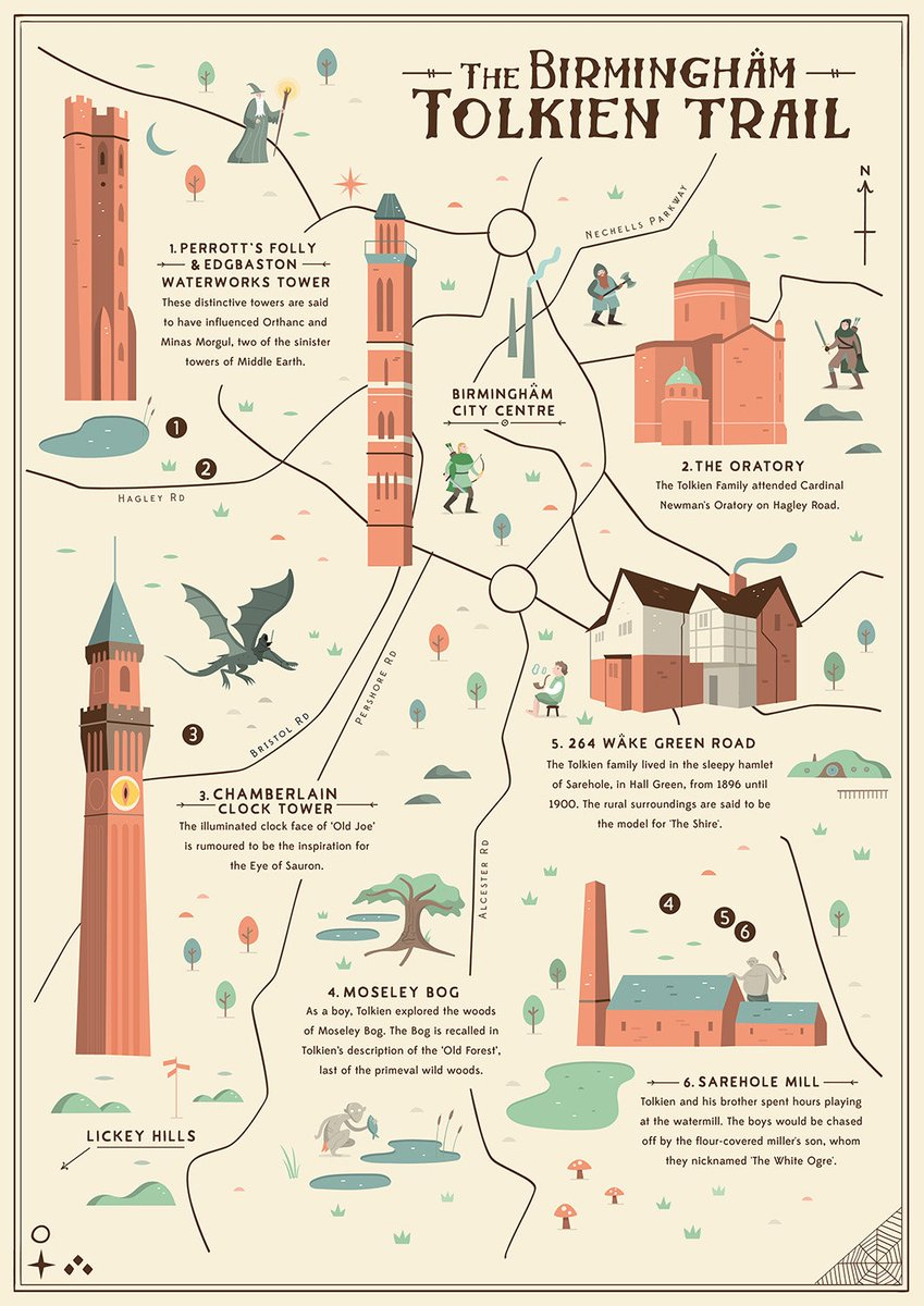 LOVE this Birmingham Tolkien Trail illustrated map by @tcwoolley, depicting some of the buildings/landmarks that inspired JRR Tolkien during his time in Brum.  Grab a print at: