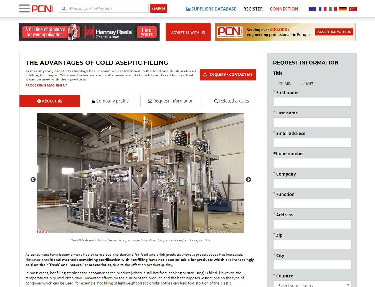 test Twitter Media - HRS is featured @pcneurope on The Advantages of Cold Aseptic Filling. As consumers have become more health conscious, the demand for food and drink products without preservatives has increased. Read more: https://t.co/dclOetcG56 https://t.co/Qyu3xGw5kk