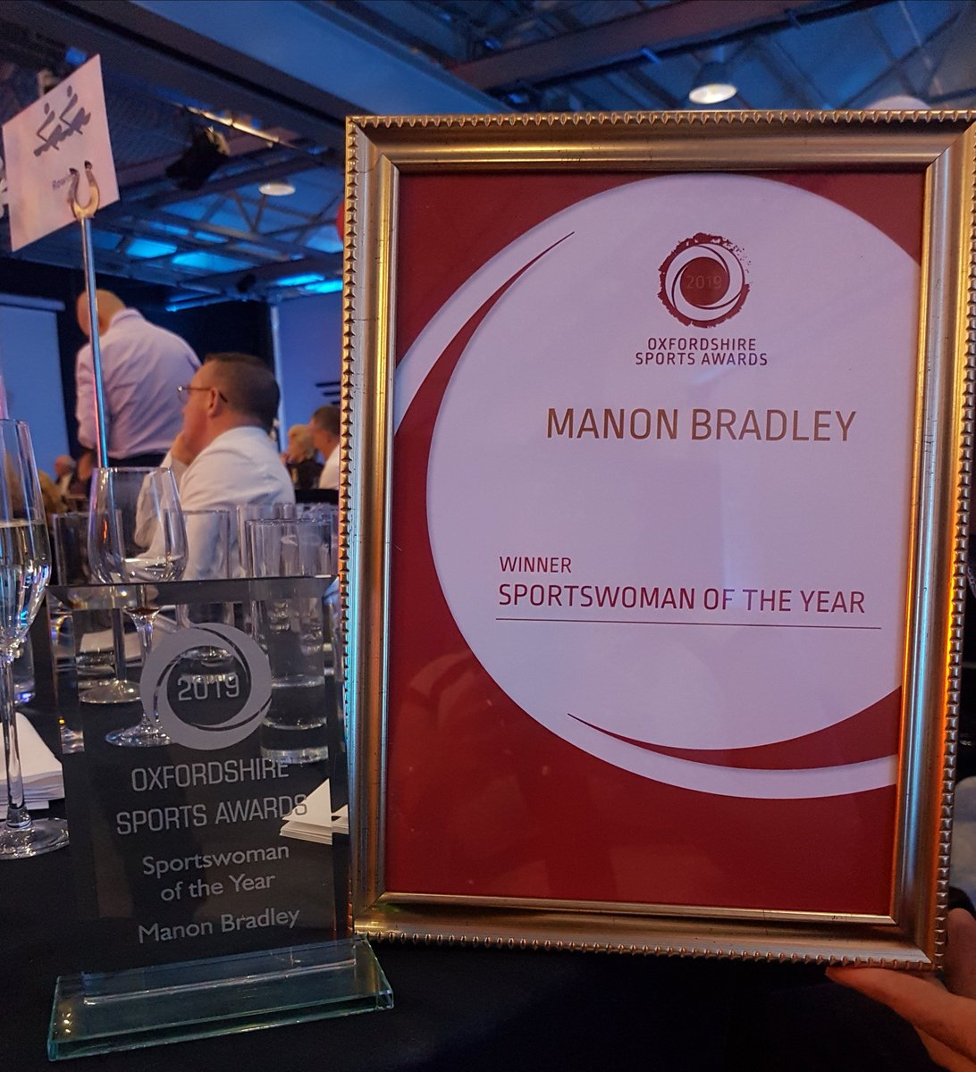 RT @ManonBradley: Delighted to been awarded Oxfordshire Sports woman of the year #oxonsportsawards thank you to whoever nominated me.