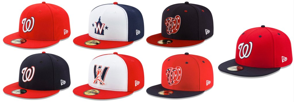 So, here is what the #Nats have for regular season caps between what we know is coming and what was used last season. Have to imagine the group will be thinned out a bit.   I have a hunch the red top/blue brim will be out along with one or both of the flag caps. https://t.co/NOK8swqA8r
