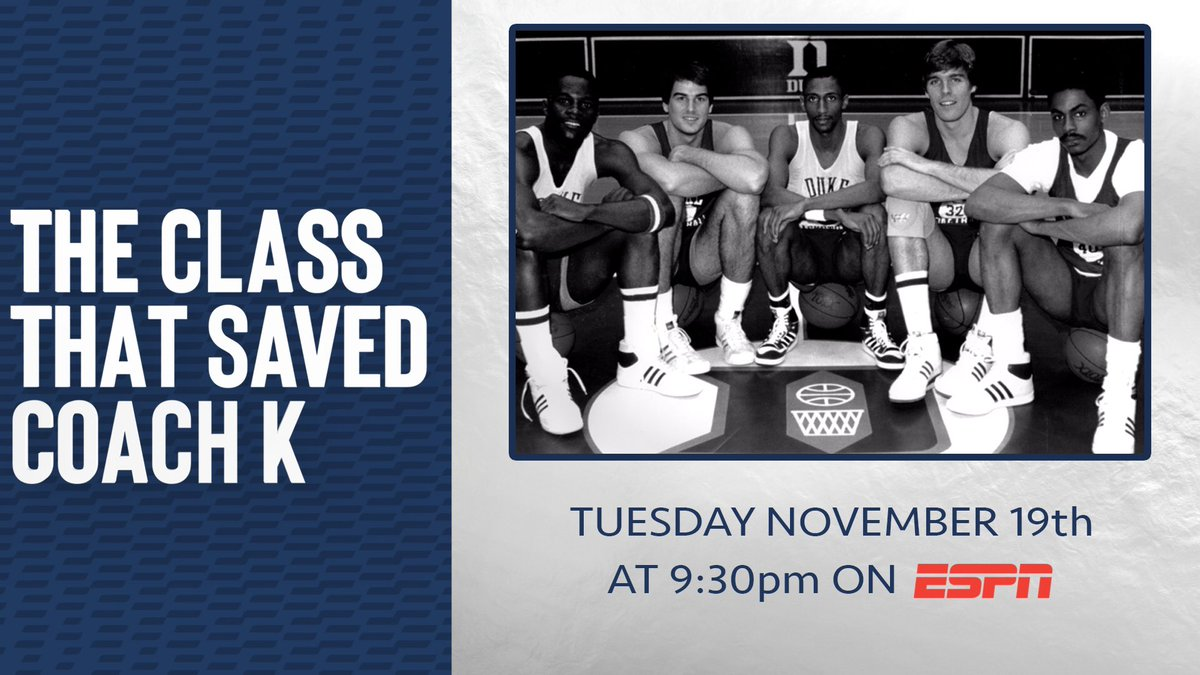 """""""The Class That Saved Coach K,"""" Tuesday, November 19 at 9:30pm on ESPN."""