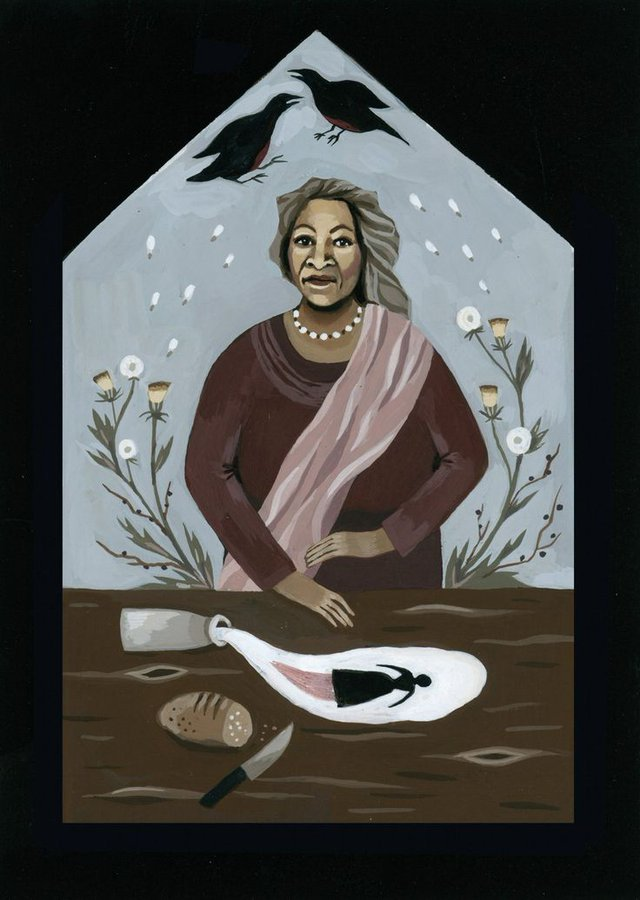 Toni Morrison, US best selling author noted for her examination of black female experience and who received the Nobel Prize for Literature, 1993. Illustration by Katy Horan from 'Literary Witches' an illustrated celebration of trailblazing women writers #womensart https://t.co/VtjwcDyUtI