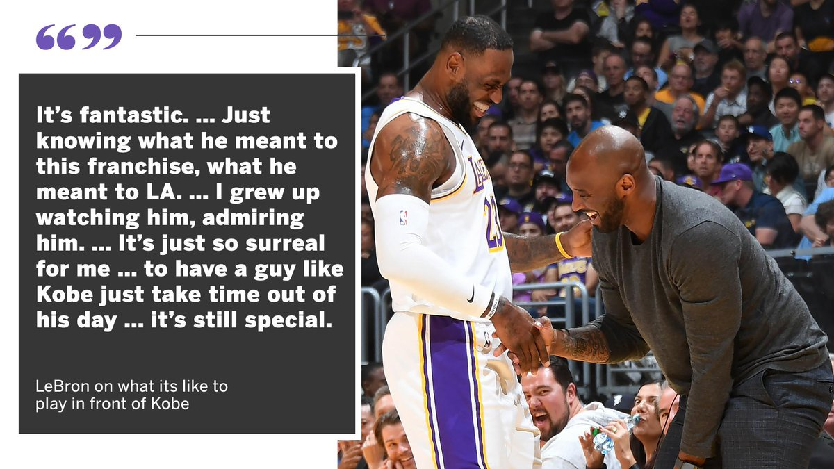 .@KingJames says being able to play in front of @kobebryant is special.