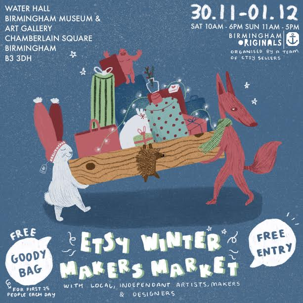 Want to support local this Christmas? Head to @BirminghamEtsy Winter Makers Market at @BM_AG on 30 Nov and 1 Dec. Discover 45 indie artists, designers and makers across 2 days, and the first 25 people each day get a FREE goody bag!   Best of all, it's FREE ENTRY. See you there?