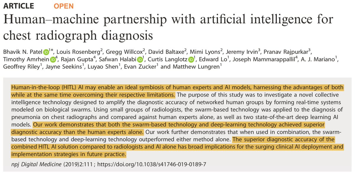 test Twitter Media - Human–machine partnership with #ArtificialIntelligence for chest #radiograph diagnosis 👉 Prospective #AI-human symbiosis  Link: https://t.co/sQkNmoflce  #MedTwitterAI #radiology #SoMeDocs @nresearchnews @pranavrajpurkar @RajanTGuptaMD @SafwanHalabi @curtlanglotz @mattlungrenMD https://t.co/A75aH97WdM