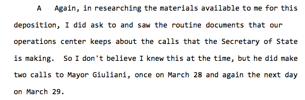 New: David Hale says State Dept records show Secretary of State Mike Pompeo called Rudy Giuliani twice in late March, likely to talk about the smear campaign against Amb Yovanovitch.  Hale says Pompeo also called Sean Hannity, which Hannity has denied.