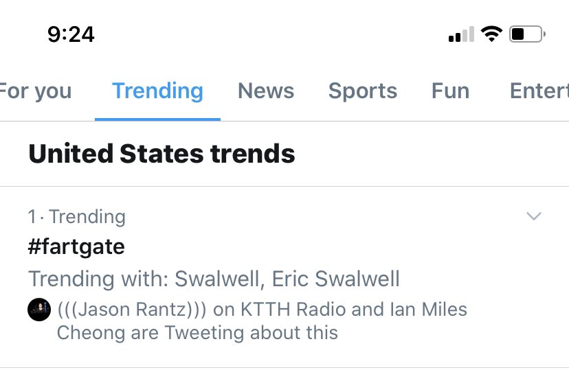 #FartGate is trending #1 nationally on Twitter