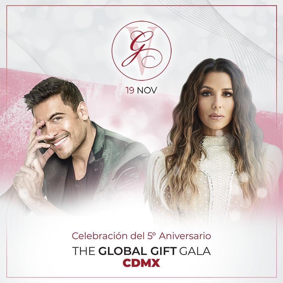Esta noche @_CarlosRivera será parte de la #GlobalGiftGala, evento a beneficio de la educación y la salud de las mujeres ❤️