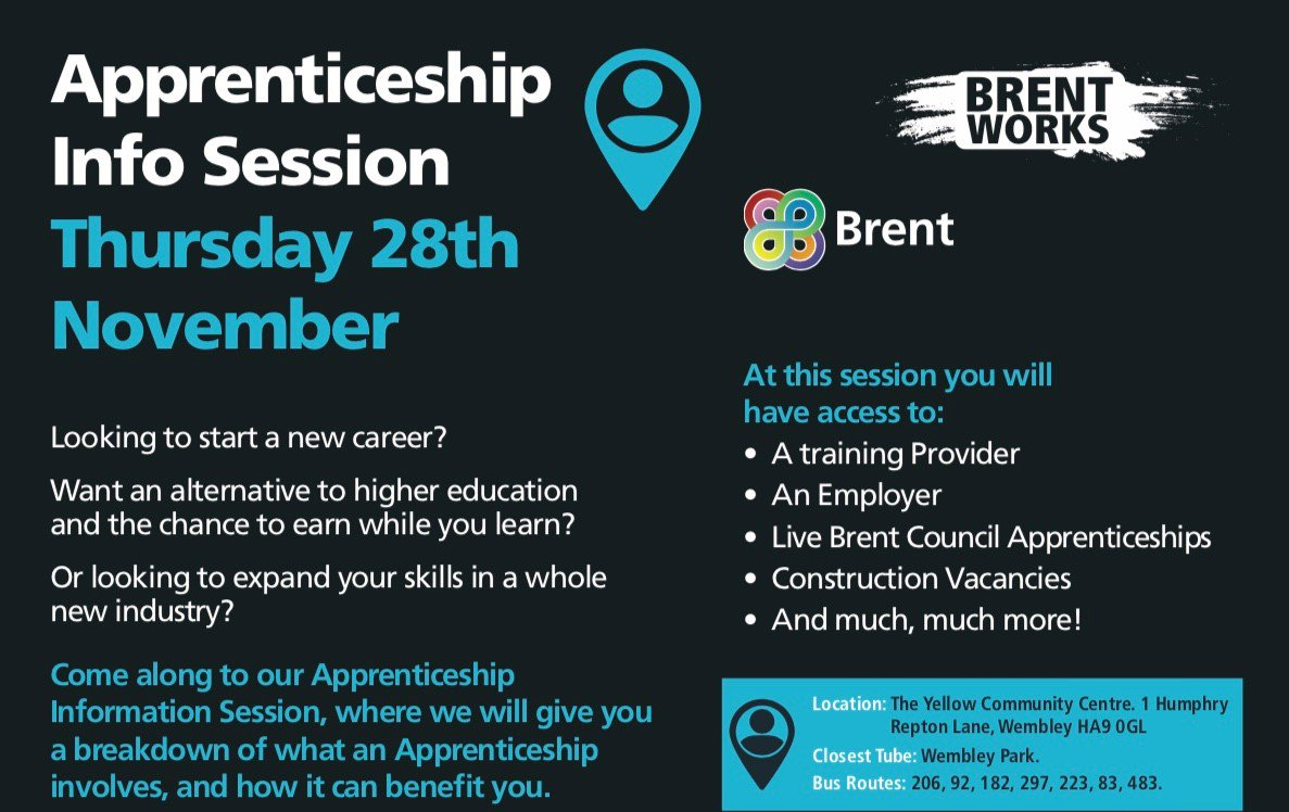 Did you know that #Apprenticeships are for all ages from 16 to retirement? #Learning is a life skill, to find out more about #BrentApprenticeships call Brent Works on 0208 937 6295 or email brent.works@brent.gov.uk