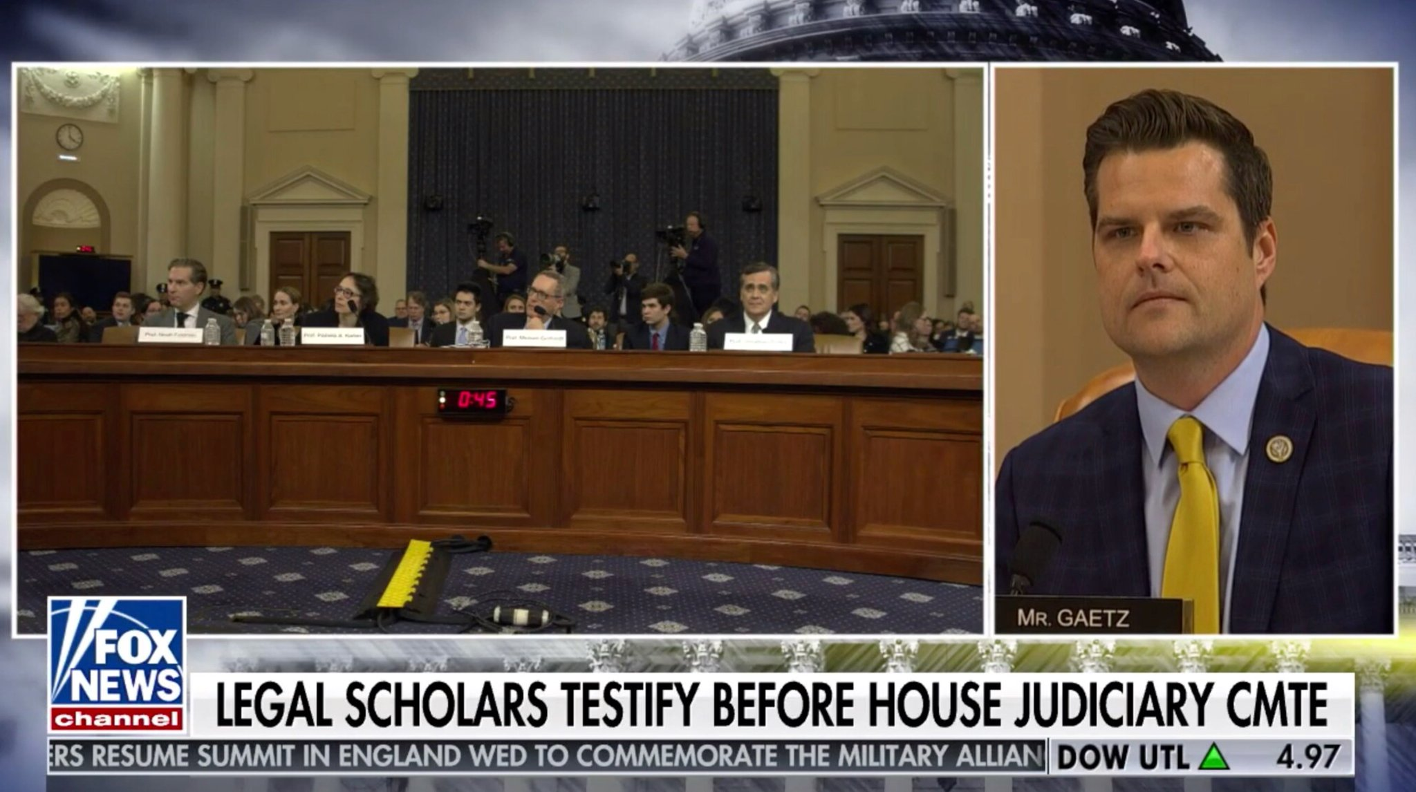 🚨 BREAKING: @RepMattGaetz asked the witnesses in today's sham hearing to raise their hands if they have personal knowledge of a single fact in Schiff's report.  No one raised their hand.  Why are we wasting time on liberal professors who have no firsthand knowledge of this case? https://t.co/vQ9Ll9jqYP