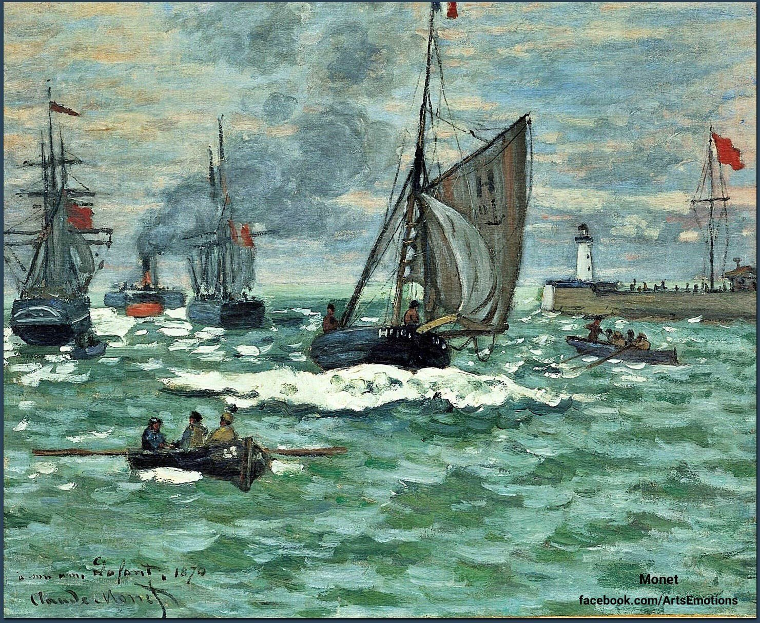 """""""Entrance to the Port of Honfleur"""".(1870) By Claude Monet.French impressionist Private Collection https://t.co/7wVDViyMM4"""
