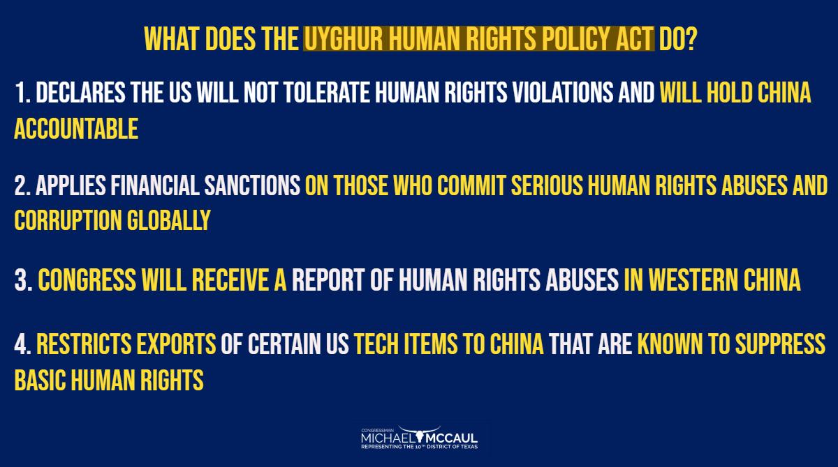 #UyghurHumanRightsPolicyAct