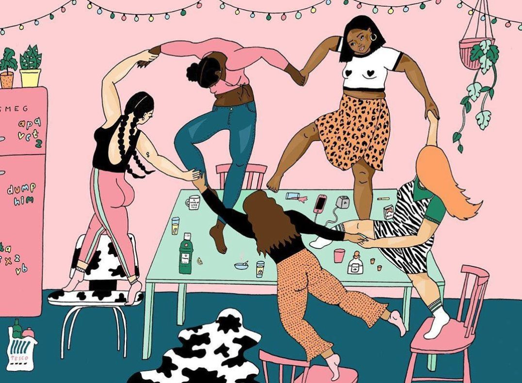 'When you and the squad are at the after-party and your banger comes on' ⠀⠀⠀⠀⠀⠀⠀⠀⠀ ⠀⠀⠀⠀⠀⠀⠀⠀⠀ ⠀⠀⠀⠀⠀⠀⠀⠀⠀ Sisterhood will save the world. What does sisterhood look like to you? Reply to this thread!  (🎨: @thisisaliceskinner's insta) https://t.co/bn8UrtBtAT