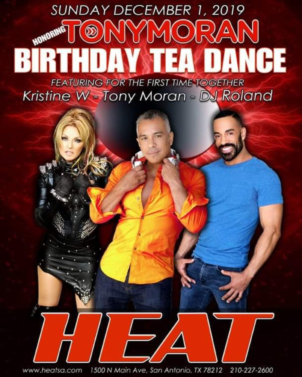 We will be bringing the heat to San Antonio to kick off the holiday season with all of you with a fierce afternoon Tea Dance with these two gorgeous DJ/producers !! I'll be on stage bringing the hits. See you there 😘 xx kw  RVSP:   @MORANMUSIC @djroland001