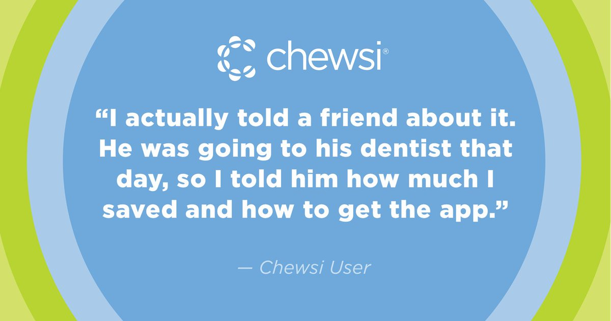 Had a great experience with Chewsi? Don't keep it to yourself. Share the love like this Chewsi user did: #testimonial #ChewsiDental #savings https://t.co/pFEyvxVend