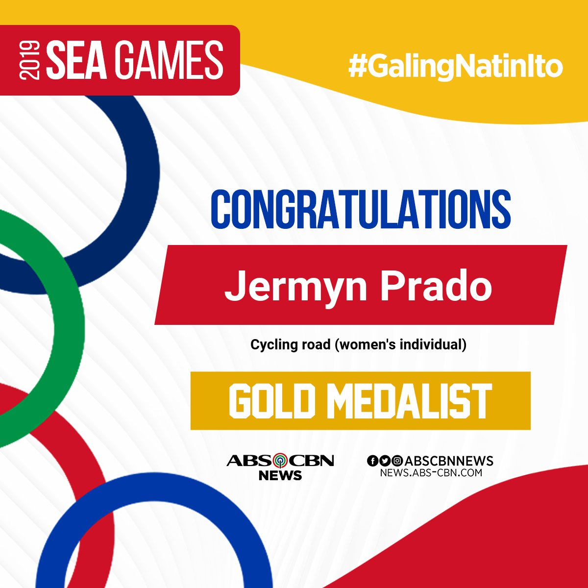 test Twitter Media - PANALO TAYO! 🏅 Jermyn Prado adds another gold to the Philippine medal haul after dominating the cycling road (women's individual time trial). #SEAGames2019 #GalingNatinIto   For updates on the 30th SEA Games, visit https://t.co/a8a0MBtuMJ https://t.co/wLqTkV5xxe