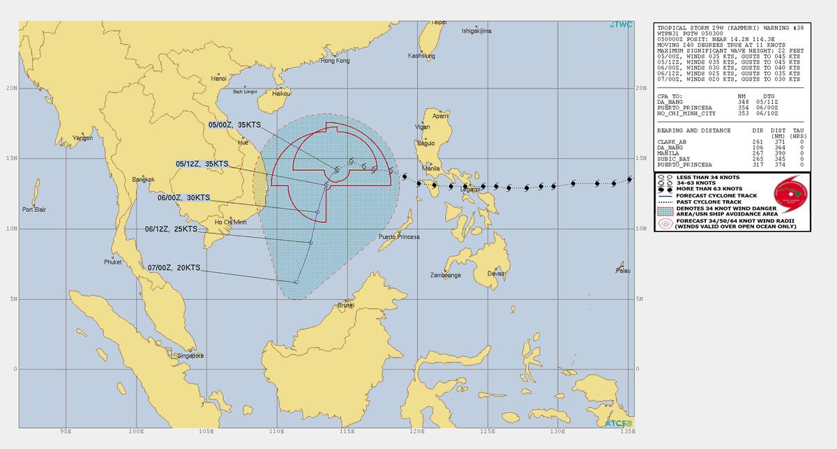 test ツイッターメディア - 台風28号(カンムリ)05日09:00の中心気圧1002hPa、中心付近の最大風速18m/s、最大瞬間風速25m/s。南シナ海を20km/hで西へ。 https://t.co/nHtJFPdFDC https://t.co/a2MmeOl0xo Joint Typhoon Warning Center (JTWC) https://t.co/kajXueFOmV https://t.co/7JliT2gu8i