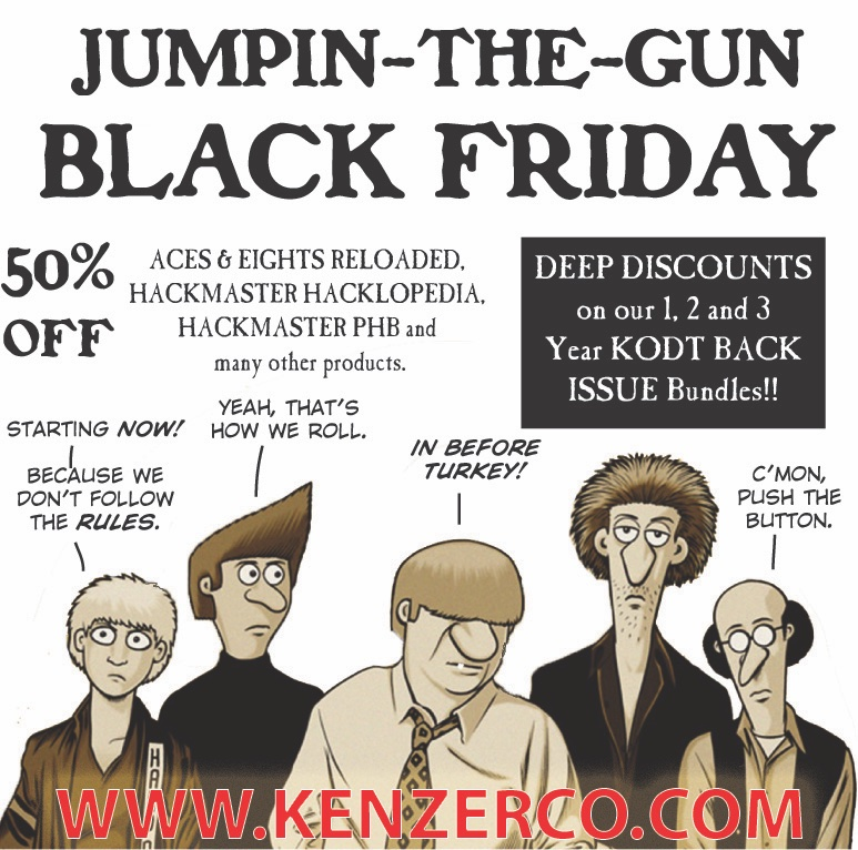 test Twitter Media - We're kicking off our Black Friday sale early. 50% off our hard backed core rule books and other select product. We're also deeply discounting the 1 year, 2 year and 3 year KODT back issue bundles. https://t.co/GFpnDHbCdV https://t.co/jU4EQkGmIz