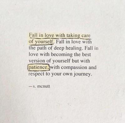 Self care is key...