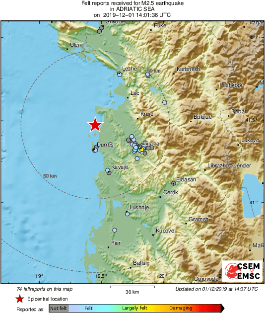 M2.5 #earthquake (#tërmet) strikes 16 km N of #Durrës (#Albania) 37 min ago. Updated map of its effects:  | tweeted by @LastQuake