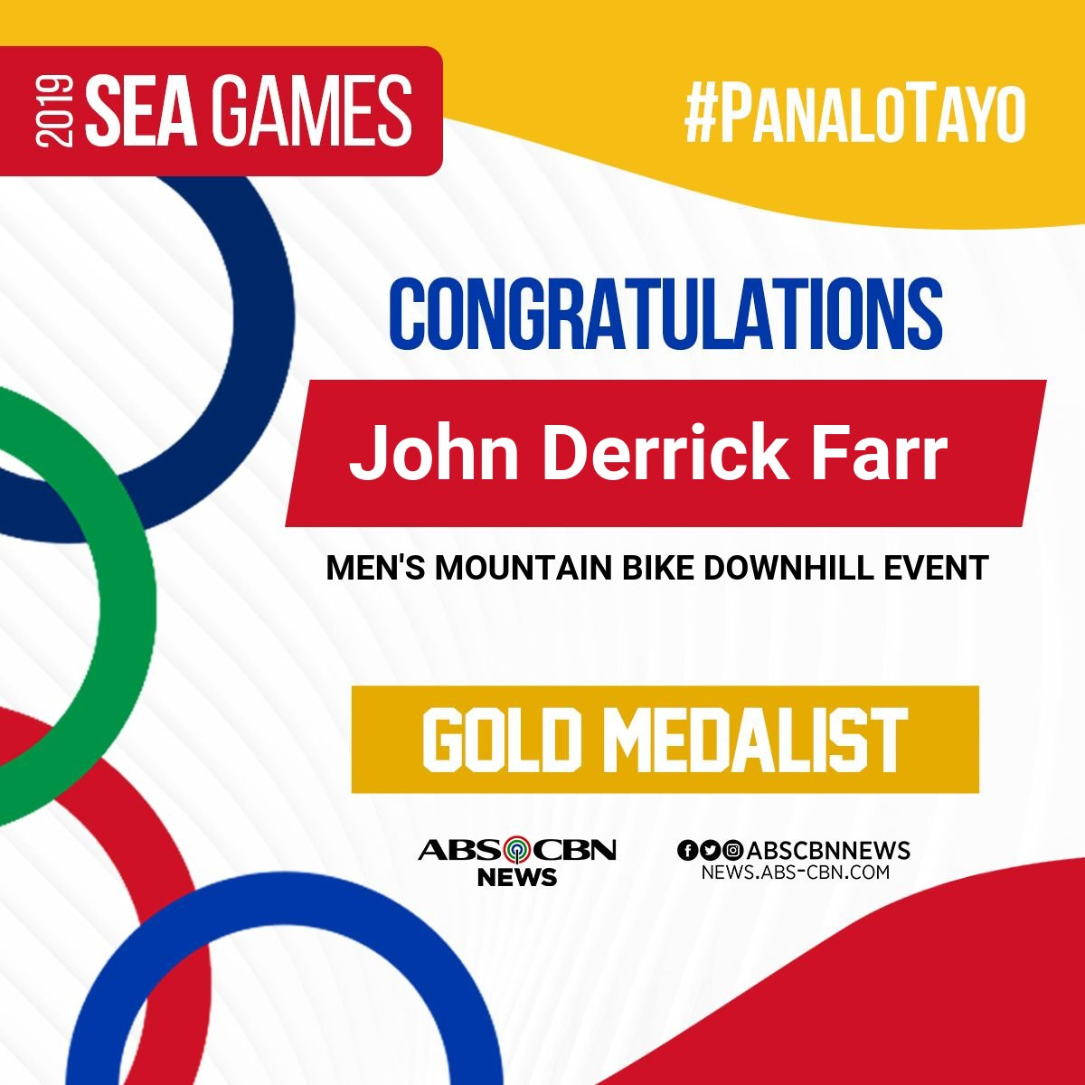 test Twitter Media - Another gold for the PH! 🇵🇭  John Derrick Farr adds another gold to the Philippine medal haul in cycling men's downhill event. #SEAGames2019 #PanaloTayo (April Rose Magpantay, ABS-CBN News)  For updates on the 30th SEA Games visit https://t.co/a8a0MBtuMJ https://t.co/Z3ExtXLtWN