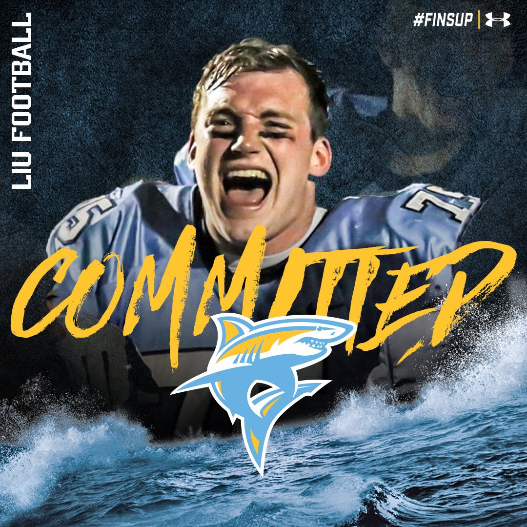 I'm very excited to announce that I am 100% committed to Long Island University, I'd like to thank my parents and coach's for supporting me the whole way! @LIUSharksFB @FBCoachCollins @Scala39 @JStuppino @DallasMountsFB #finsup