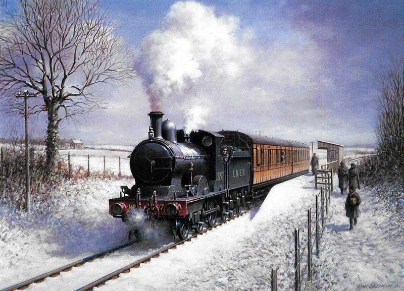 Don Breckon with this snowy steam locomotive. They always look good in snow I think.  Love the sky in this one.  Nostalgic painting https://t.co/G2fI8vDYAV