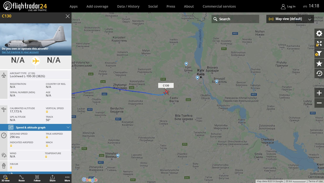 Interesting CIA linked Northcap LLC (Tepper) L-100-30 Hercules N3796B descending for #Kyiv #Ukraine https://t.co/9b3PW3xvmX