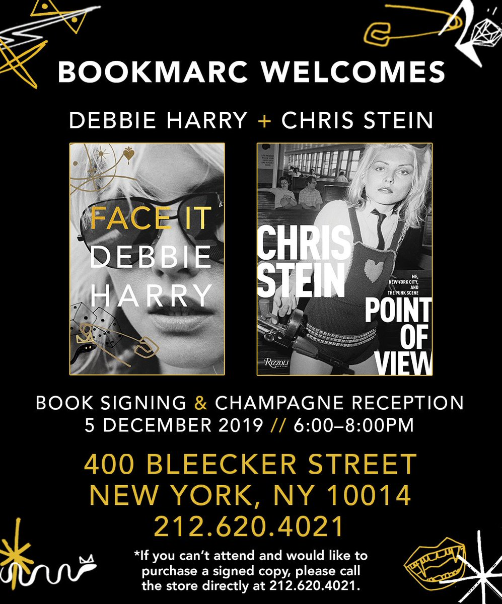 It's time to FACE IT. Visit Debbie and Chris this evening at Bookmarc on Bleecker St., a one-of-a-kind shop with strikingly illustrated art books and trinkets. Doors open at 6p. @chrissteinplays @RobRothNYC  #PointOfView #FaceIt