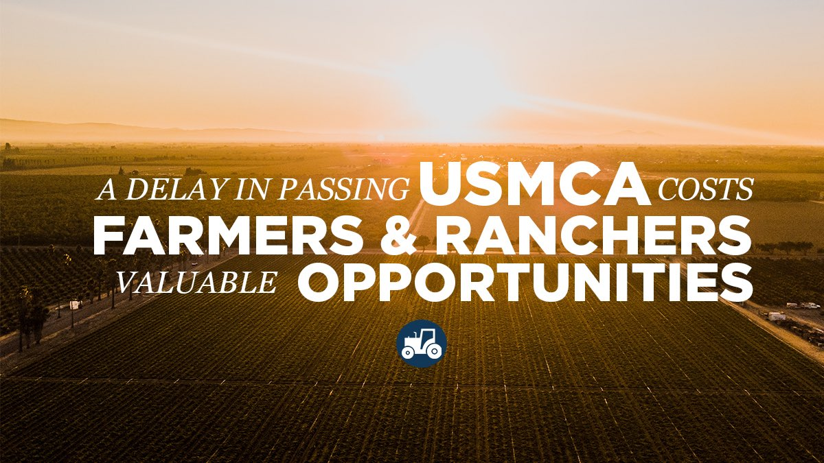It's been a year since @realDonaldTrump signed #USMCA—a 21st-century trade deal that will boost our ag economy in the Midwest.  Farmers & ranchers deserve a vote on #USMCANow *BUT* Democrats would rather plow ahead with impeachment.  It's politics over progress, plain & simple.