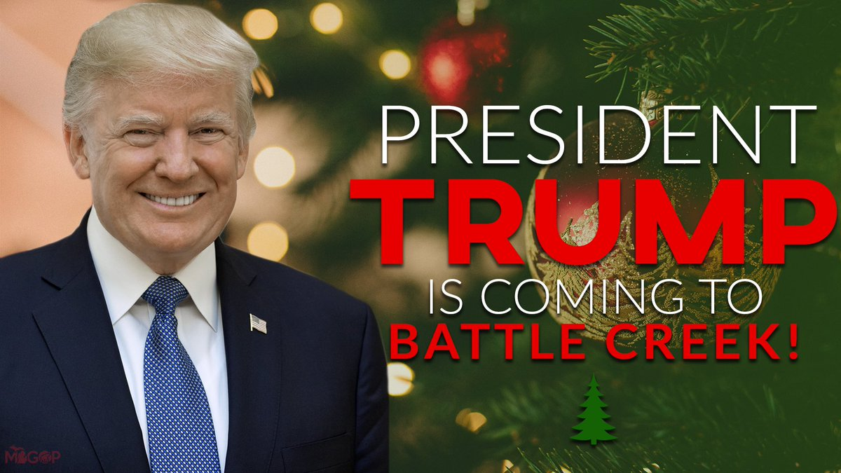 We have so much to be grateful for this holiday season, and President @realDonaldTrump visiting Michigan again is one of them! 🇺🇸  Looking forward to having @TeamTrump in Battle Creek for a Merry Christmas Rally.   🎄RSVP:  🎁PRESS: