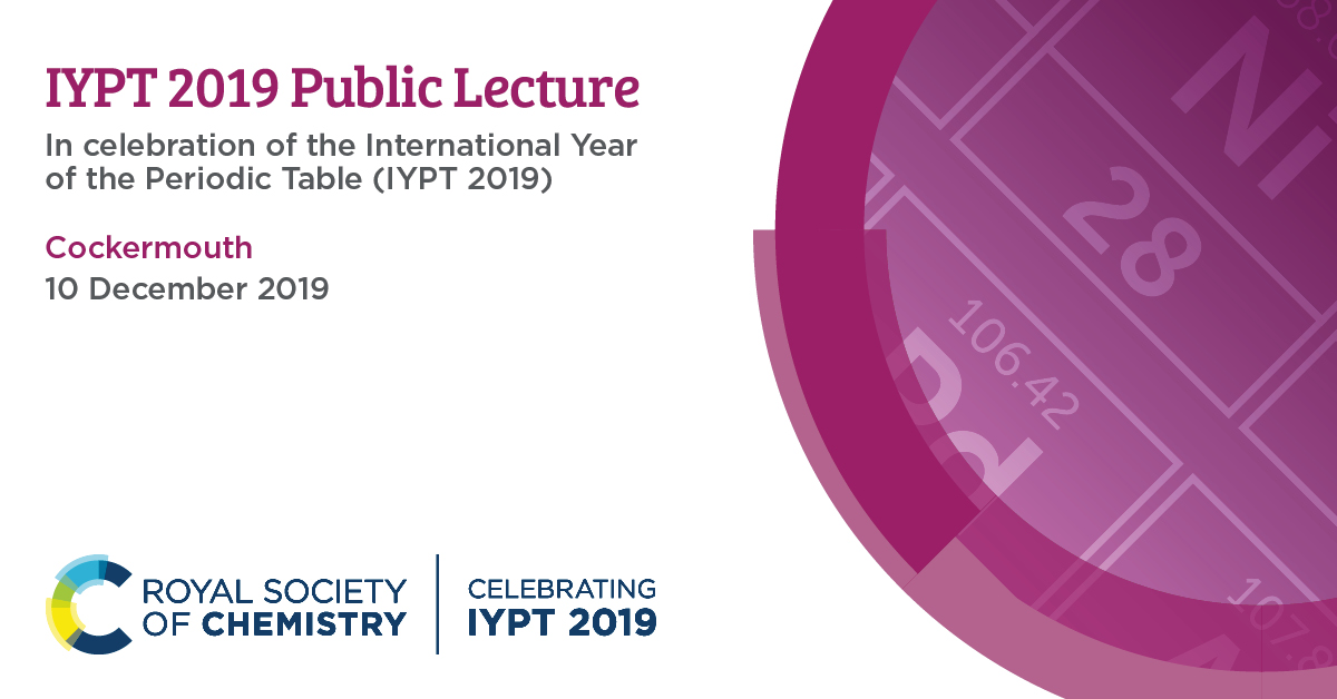Join us on 10 December at Cockermouth for the #IYPT lecture, Setting the Table: finding the order of the elements. The speaker will be Dr Fabio Parmeggiani, @OfficialUoM.  Attendance is free but places are limited. Don't miss out, book your place 👉