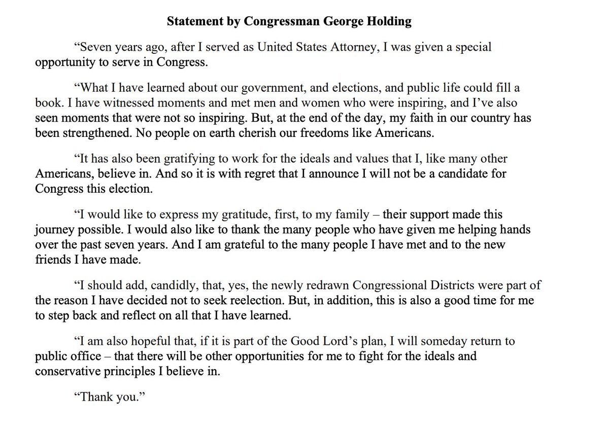 JUST IN: George Holding (R-NC) announces he's leaving Congress after redrawn map leaves him with a heavily Democratic district.