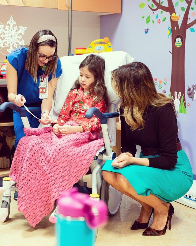 """Celebrated the joys of the #Christmas season with children at @ChildrensHealth. We made crafts and read """"Oliver the Ornament meets Belle"""" and even got to see Santa and Mrs. Clause!"""