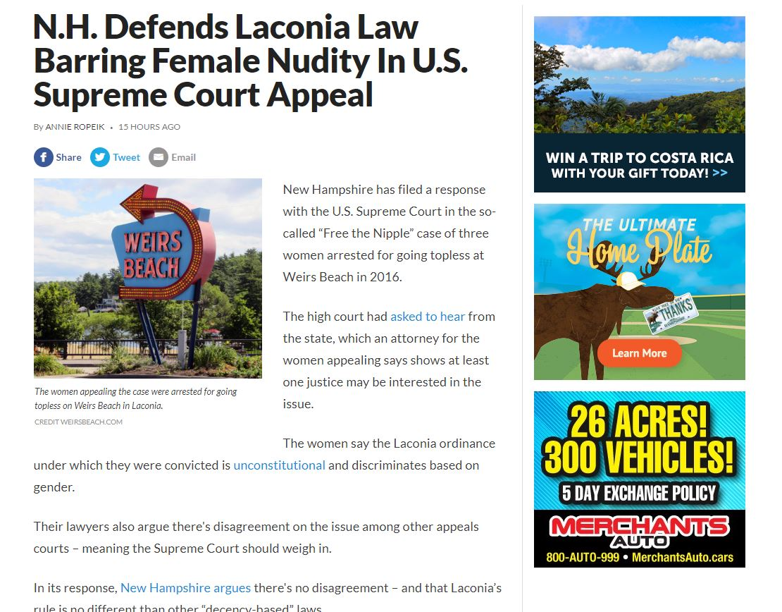 "test Twitter Media - Attachment ambiguity of the week: Annie Ropeik, ""N.H. Defends Laconia Law Barring Female Nudity In U.S. Supreme Court Appeal"", New Hampshire Public Radio 12/6/2019: New Hampshire has filed a response with the U.S. Supreme Court in the so-called ""Free the… https://t.co/6FTU7w9Sus https://t.co/XHdggW4sfK"