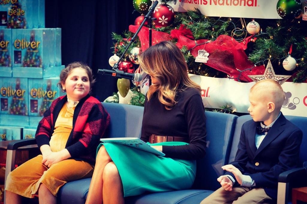 """It was a joy to read """"Oliver the Ornament Meets Belle,"""" to the patients of @childrenshealth today. I am moved by the strength and resilience of these young children. Wishing the patients and staff at this wonderful hospital a very #MerryChristmas #HolidaysAtChildrens"""